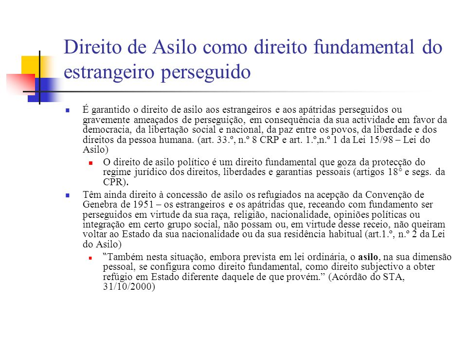 Direito de Asilo como direito fundamental do estrangeiro perseguido