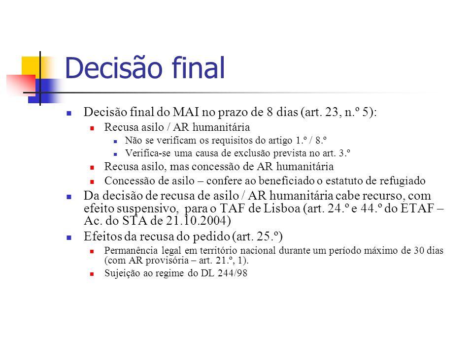 Decisão final Decisão final do MAI no prazo de 8 dias (art. 23, n.º 5): Recusa asilo / AR humanitária.
