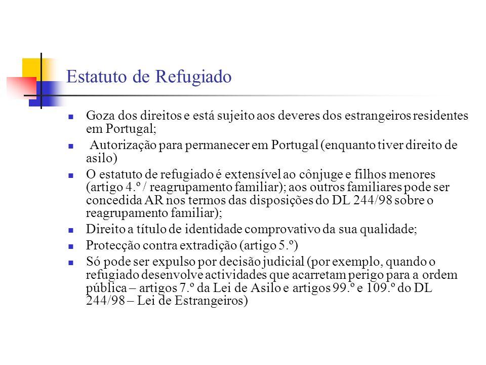 Estatuto de Refugiado Goza dos direitos e está sujeito aos deveres dos estrangeiros residentes em Portugal;