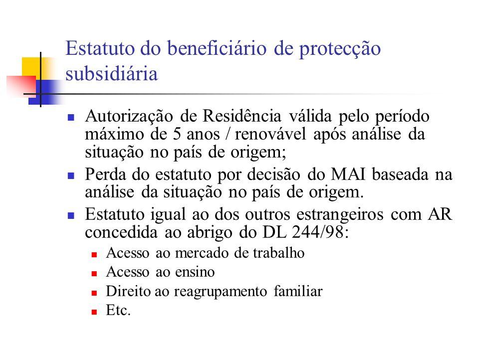 Estatuto do beneficiário de protecção subsidiária