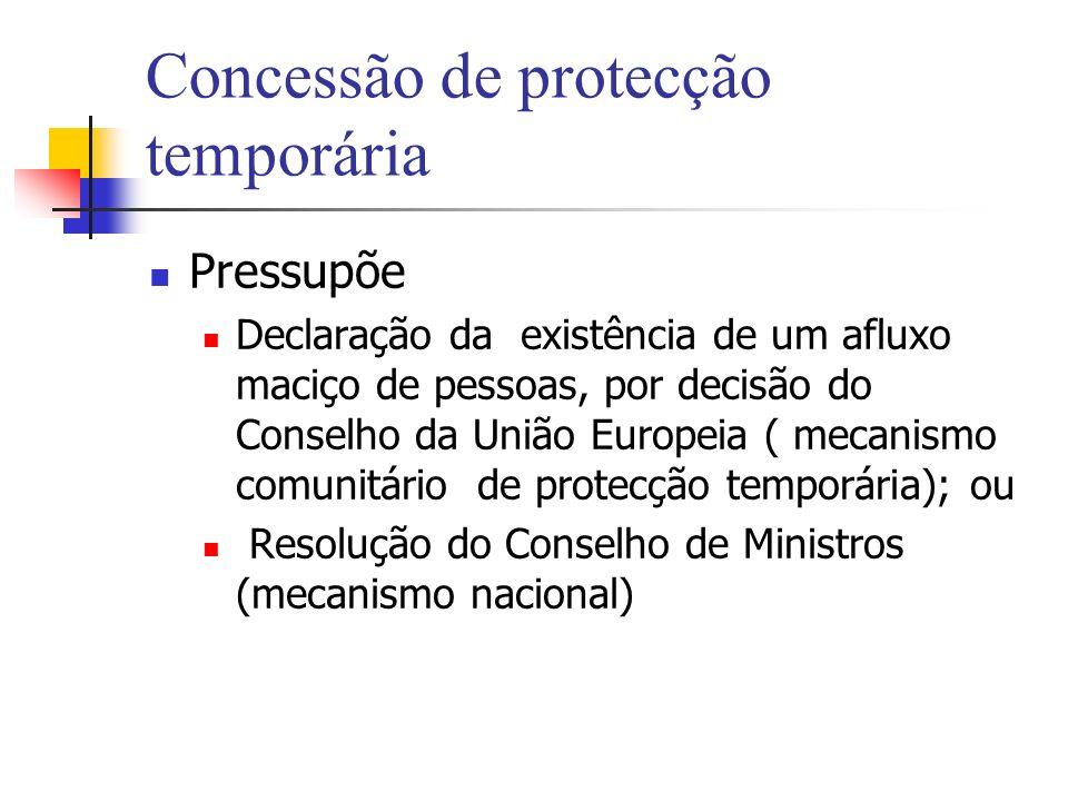 Concessão de protecção temporária