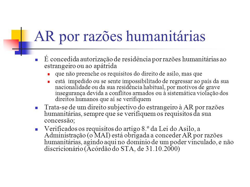 AR por razões humanitárias