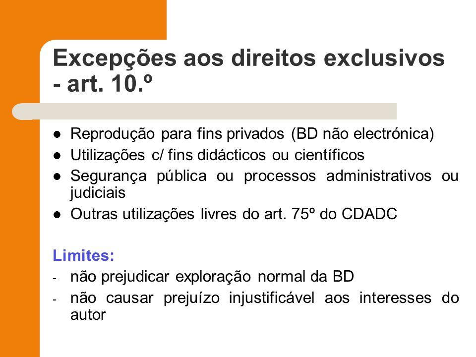Excepções aos direitos exclusivos - art. 10.º
