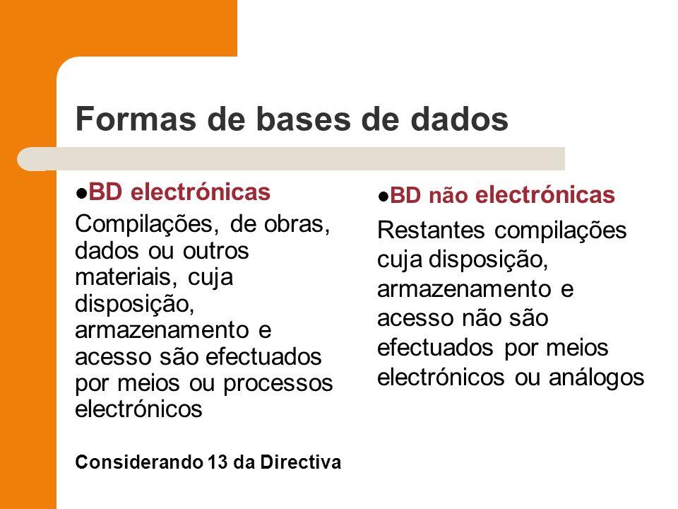 Formas de bases de dados