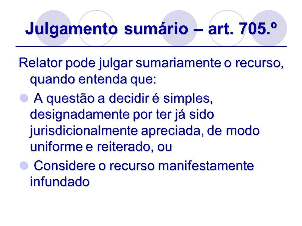 Julgamento sumário – art. 705.º