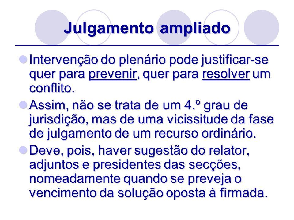 Julgamento ampliado Intervenção do plenário pode justificar-se quer para prevenir, quer para resolver um conflito.