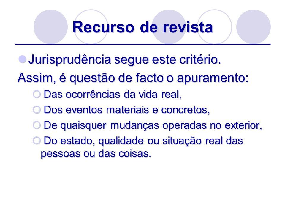 Recurso de revista Jurisprudência segue este critério.