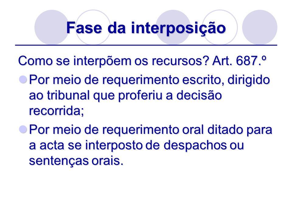 Fase da interposição Como se interpõem os recursos Art. 687.º