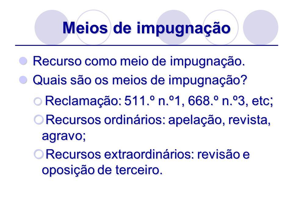 Meios de impugnação Recurso como meio de impugnação.