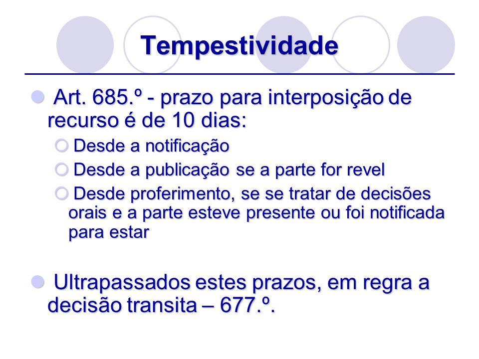 Tempestividade Art. 685.º - prazo para interposição de recurso é de 10 dias: Desde a notificação. Desde a publicação se a parte for revel.