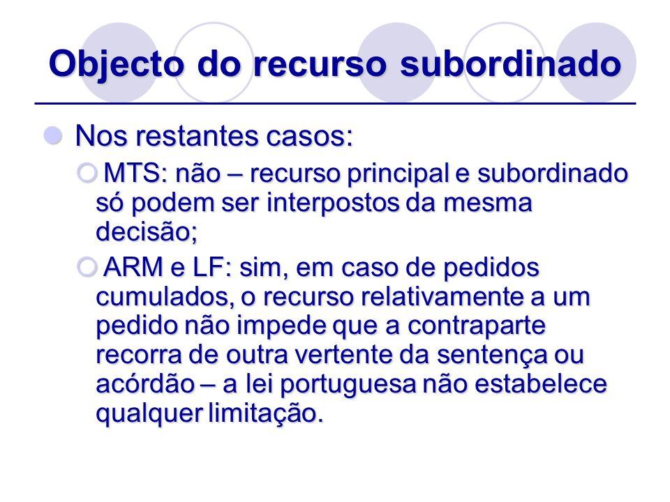 Objecto do recurso subordinado