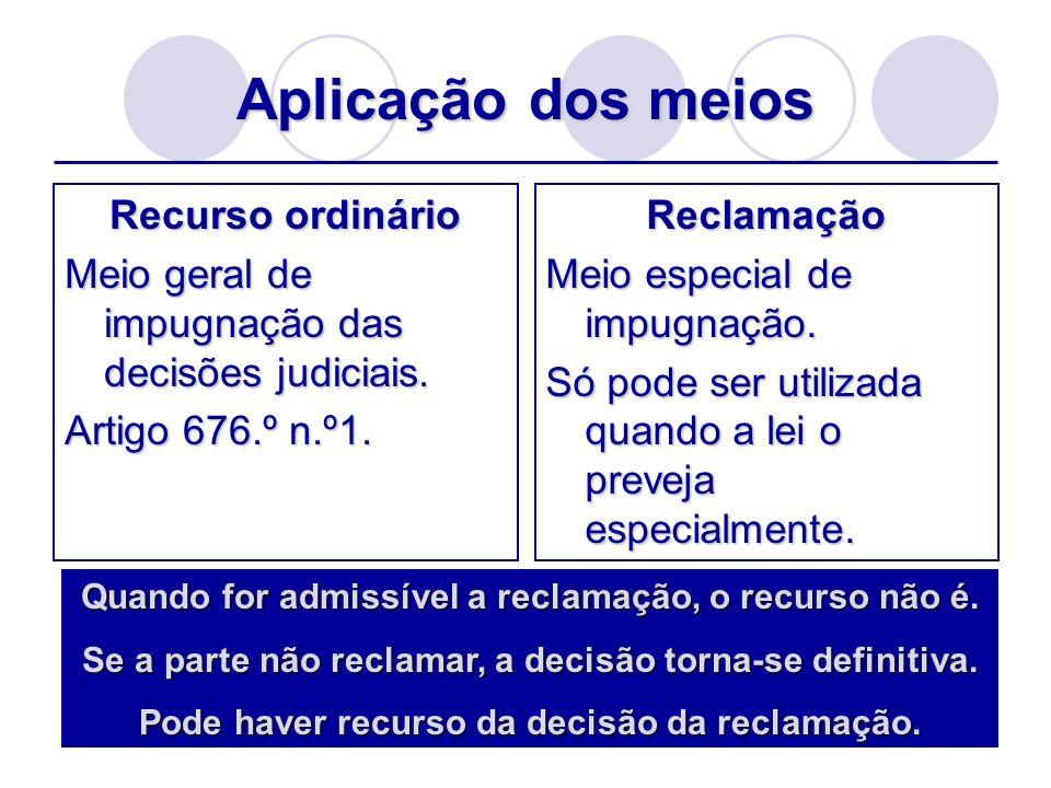 Aplicação dos meios Recurso ordinário