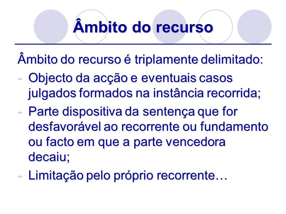 Âmbito do recurso Âmbito do recurso é triplamente delimitado: