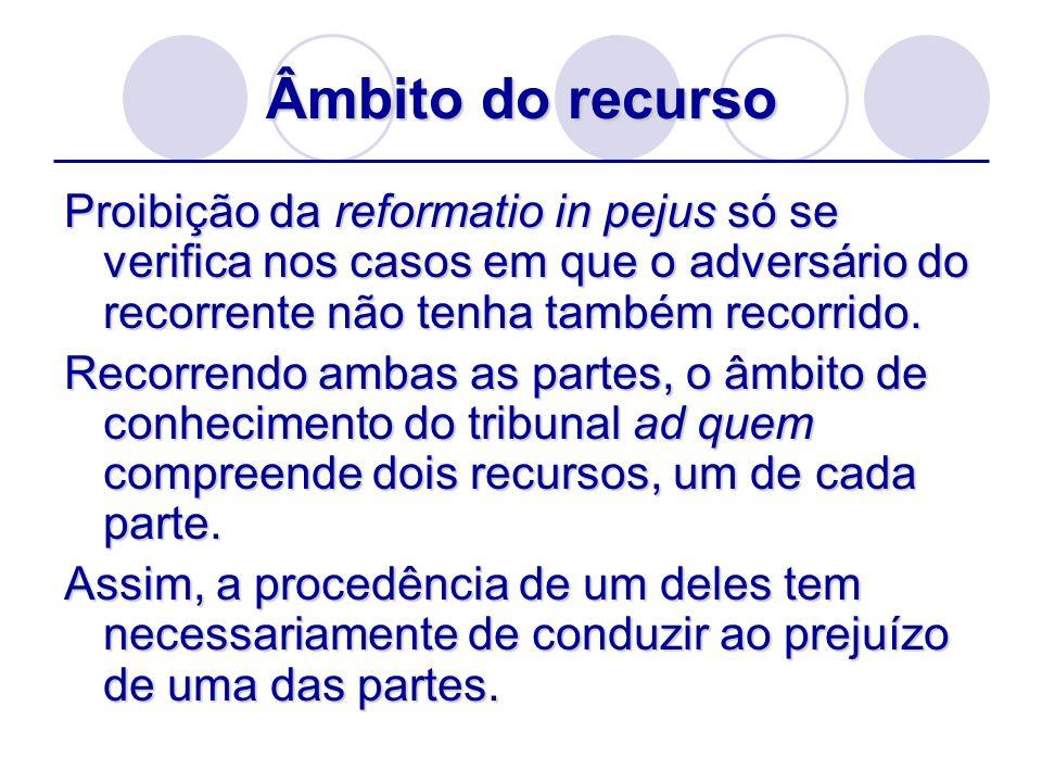 Âmbito do recurso Proibição da reformatio in pejus só se verifica nos casos em que o adversário do recorrente não tenha também recorrido.