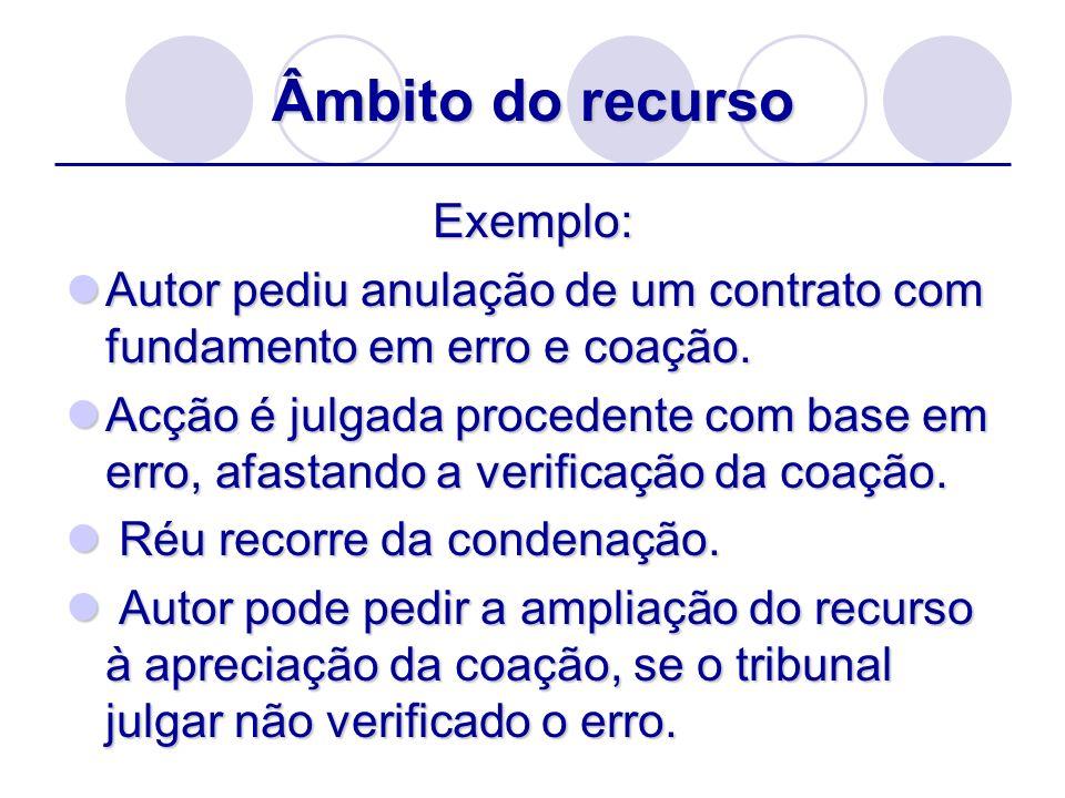 Âmbito do recurso Exemplo: