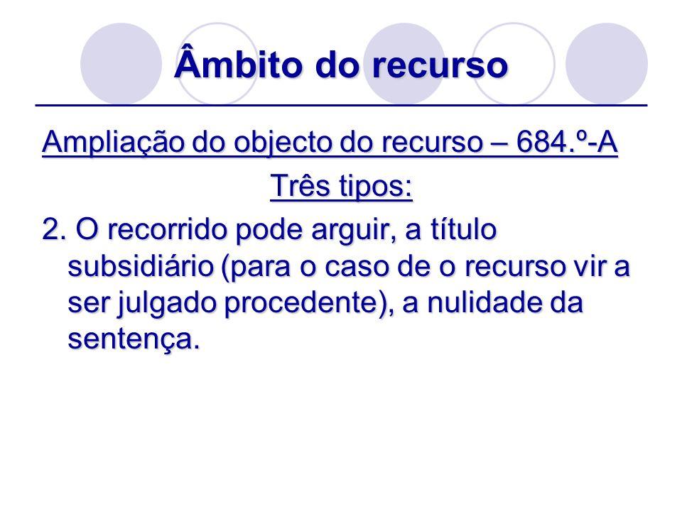 Âmbito do recurso Ampliação do objecto do recurso – 684.º-A