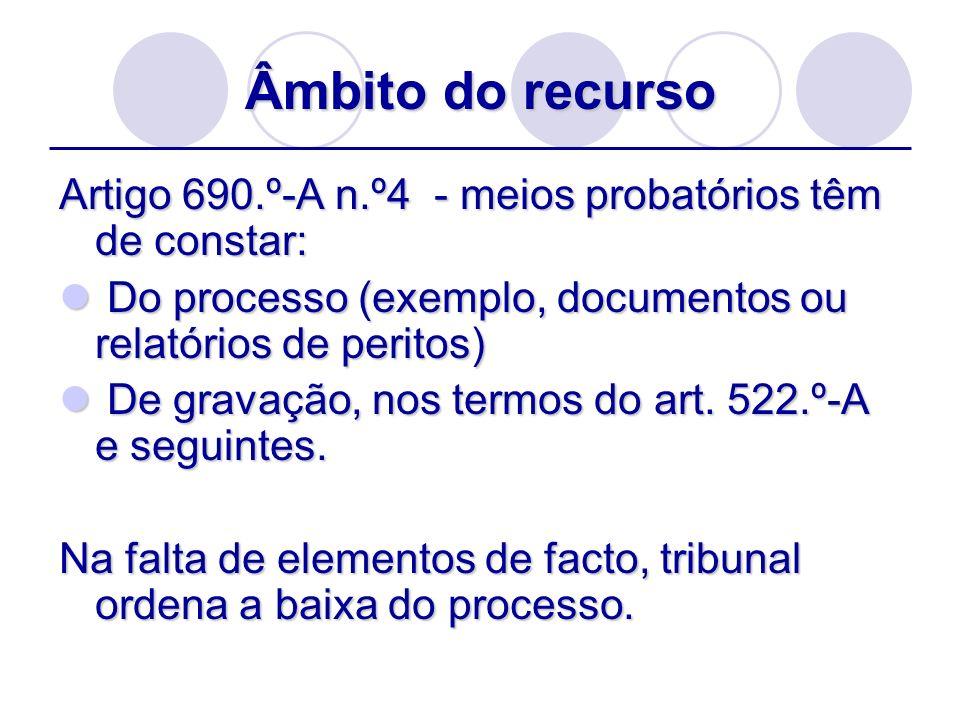 Âmbito do recurso Artigo 690.º-A n.º4 - meios probatórios têm de constar: Do processo (exemplo, documentos ou relatórios de peritos)