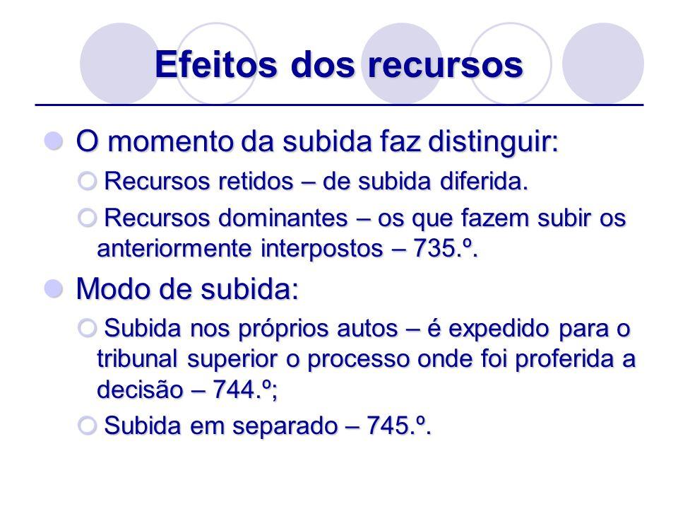 Efeitos dos recursos O momento da subida faz distinguir: