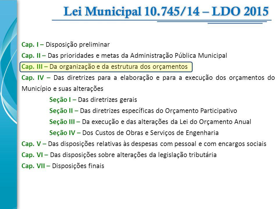Lei Municipal 10.745/14 – LDO 2015 Cap. I – Disposição preliminar
