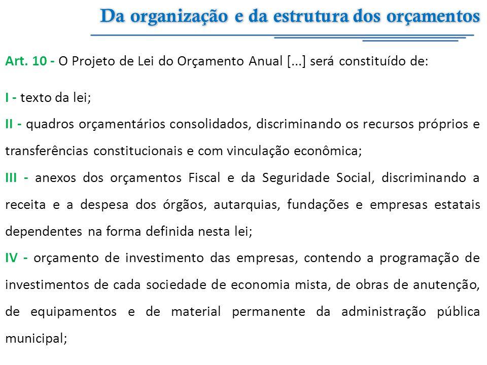 Da organização e da estrutura dos orçamentos