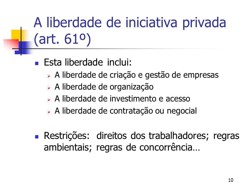 A liberdade de iniciativa privada (art. 61º)