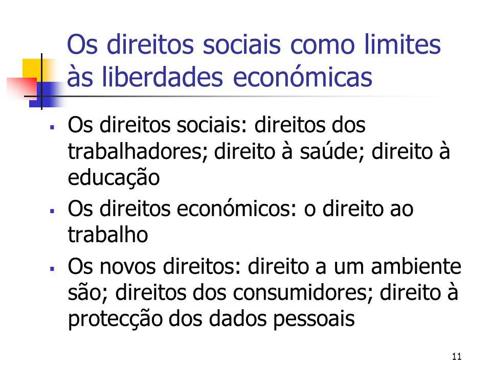 Os direitos sociais como limites às liberdades económicas