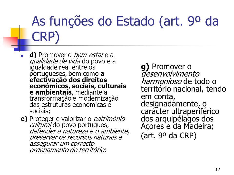 As funções do Estado (art. 9º da CRP)