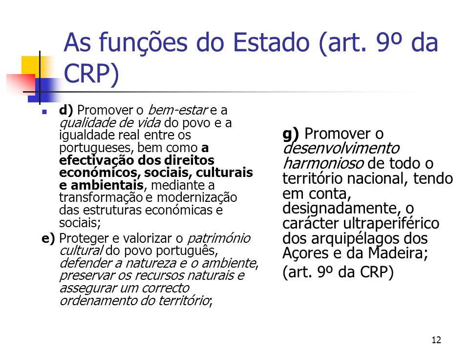 As funções do Estado (art. 9º da CRP)