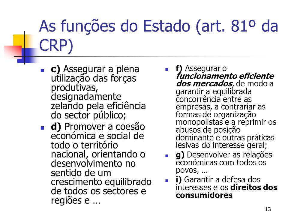 As funções do Estado (art. 81º da CRP)
