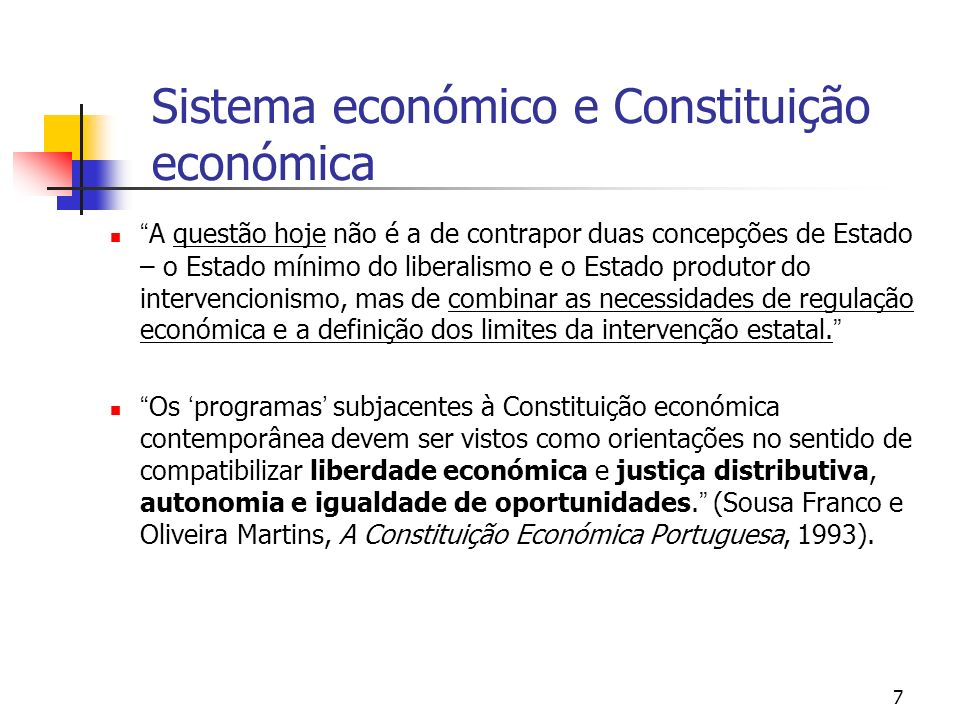 Sistema económico e Constituição económica