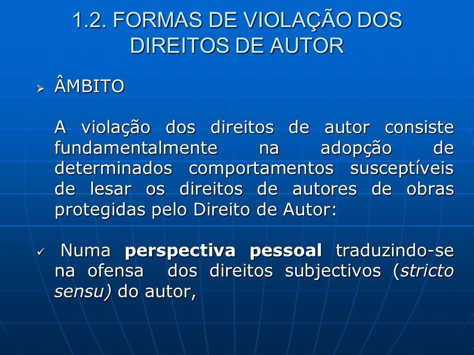 1.2. FORMAS DE VIOLAÇÃO DOS DIREITOS DE AUTOR