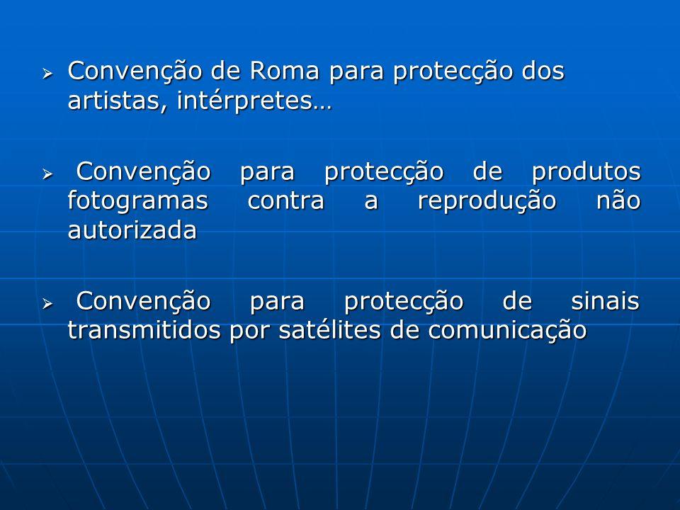 Convenção de Roma para protecção dos artistas, intérpretes…