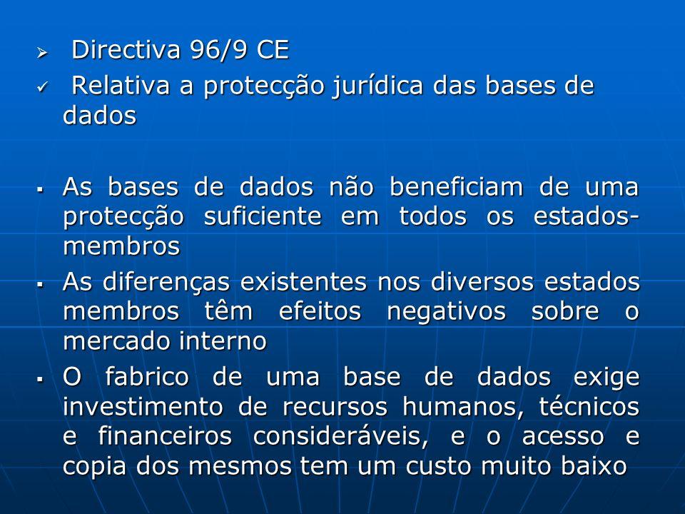 Directiva 96/9 CE Relativa a protecção jurídica das bases de dados.