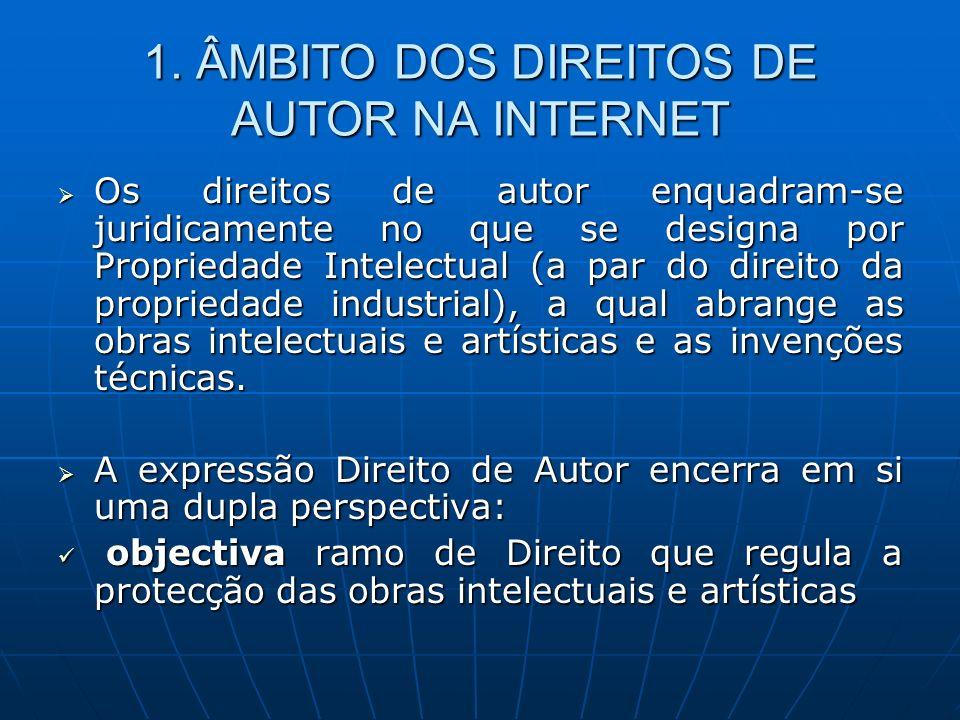 1. ÂMBITO DOS DIREITOS DE AUTOR NA INTERNET