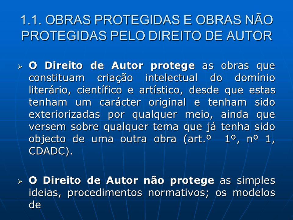 1.1. OBRAS PROTEGIDAS E OBRAS NÃO PROTEGIDAS PELO DIREITO DE AUTOR