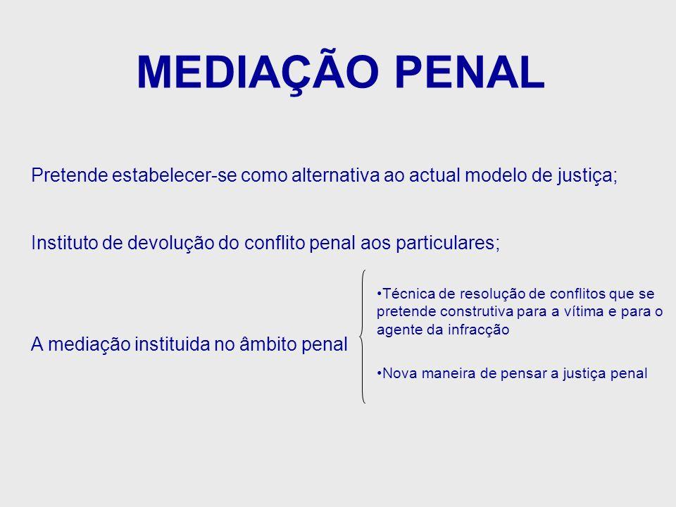 MEDIAÇÃO PENALPretende estabelecer-se como alternativa ao actual modelo de justiça; Instituto de devolução do conflito penal aos particulares;