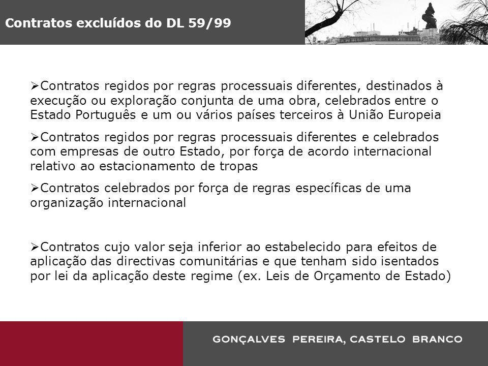 Contratos excluídos do DL 59/99