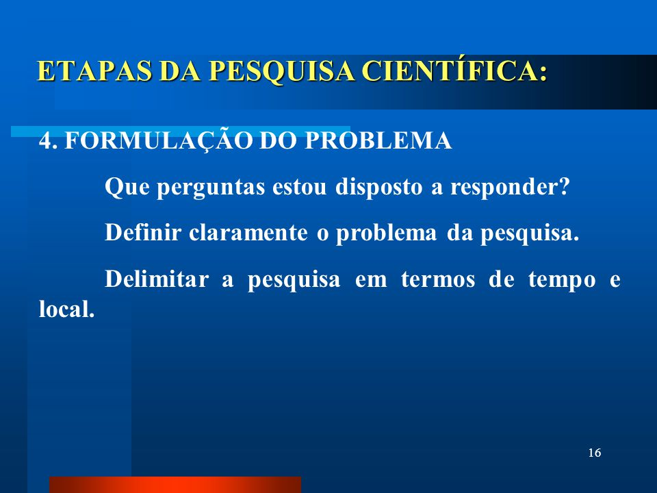ETAPAS DA PESQUISA CIENTÍFICA: