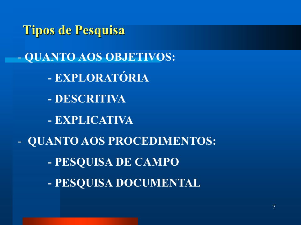 Tipos de Pesquisa QUANTO AOS OBJETIVOS: - EXPLORATÓRIA - DESCRITIVA