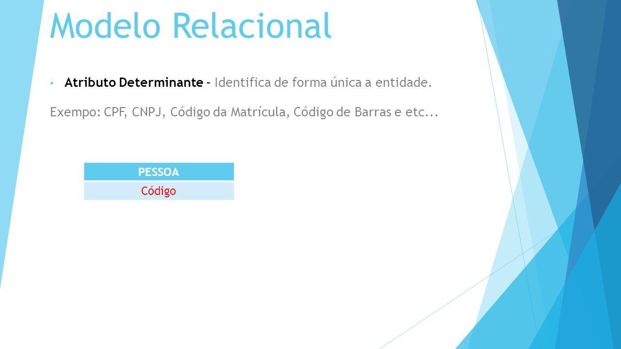 Modelo Relacional Atributo Determinante – Identifica de forma única a entidade. Exempo: CPF, CNPJ, Código da Matrícula, Código de Barras e etc...