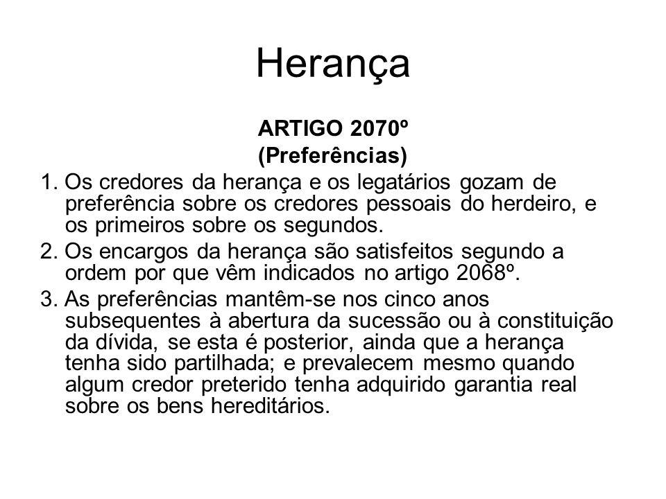 Herança ARTIGO 2070º (Preferências)