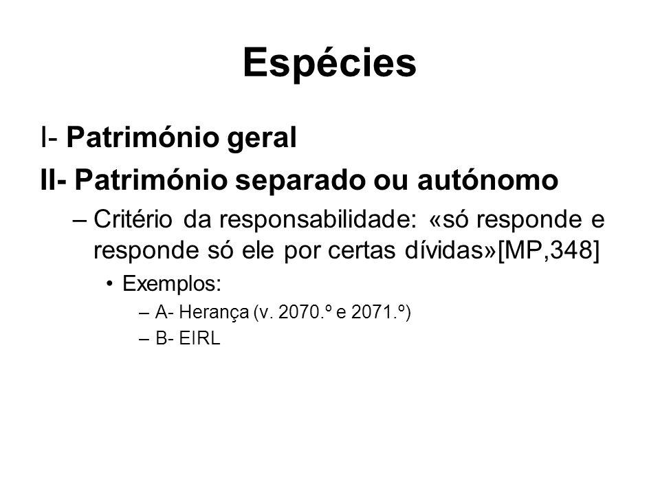 Espécies I- Património geral II- Património separado ou autónomo