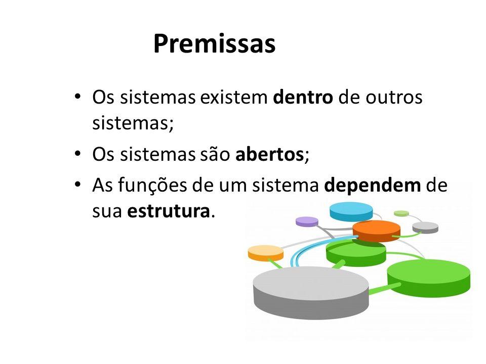 Premissas Os sistemas existem dentro de outros sistemas;