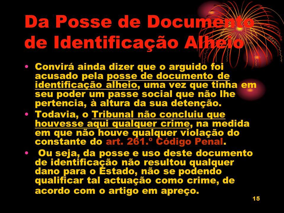 Da Posse de Documento de Identificação Alheio