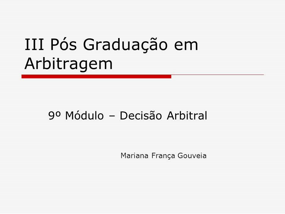III Pós Graduação em Arbitragem