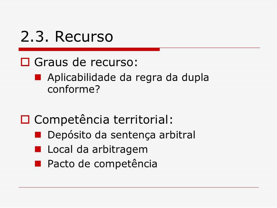 2.3. Recurso Graus de recurso: Competência territorial: