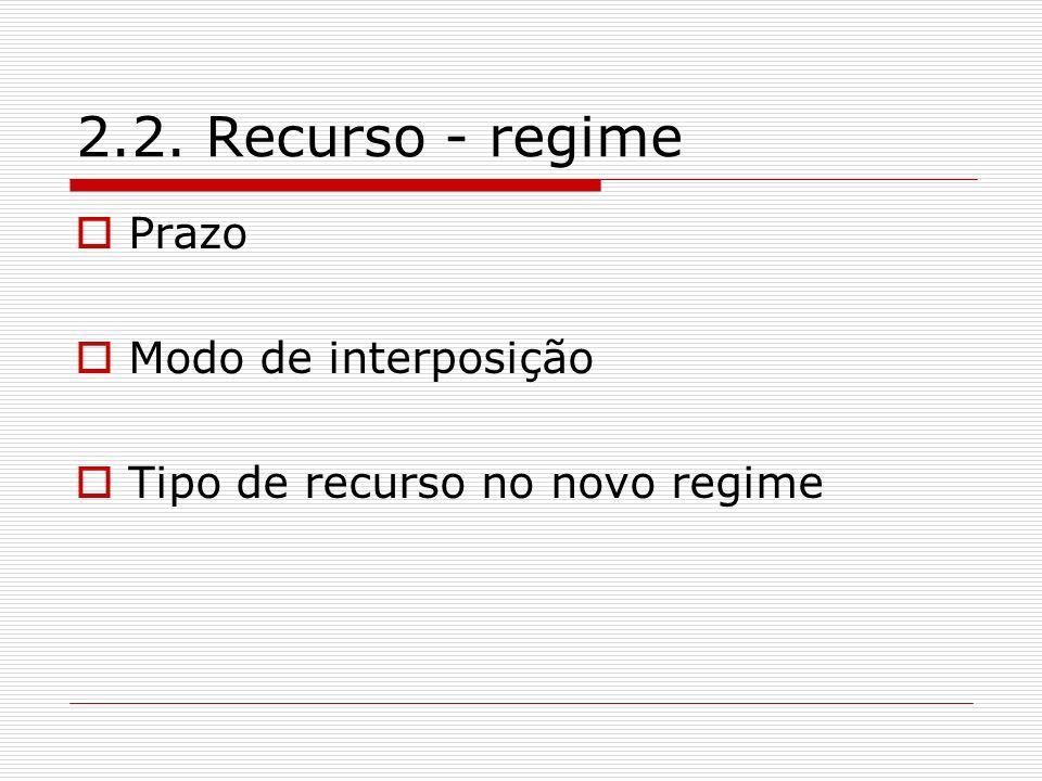 2.2. Recurso - regime Prazo Modo de interposição