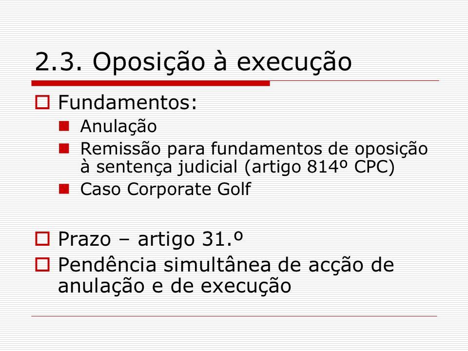 2.3. Oposição à execução Fundamentos: Prazo – artigo 31.º