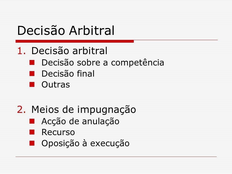 Decisão Arbitral Decisão arbitral Meios de impugnação