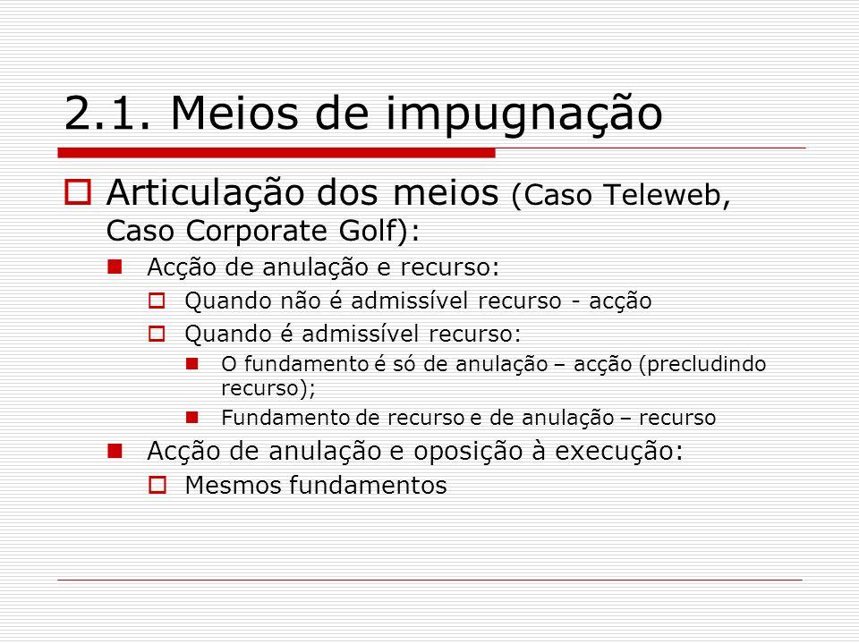 2.1. Meios de impugnação Articulação dos meios (Caso Teleweb, Caso Corporate Golf): Acção de anulação e recurso: